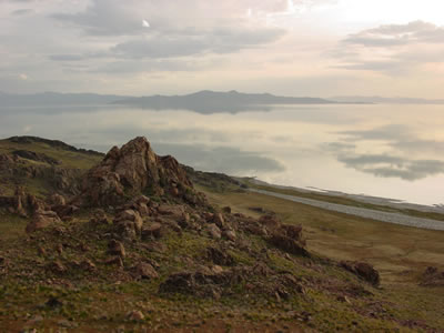 view of Great Salt Lake from Antelope Island