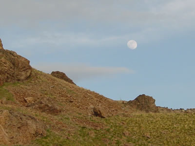 Moon over Antelope Island